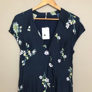 4569cda2d934 Free People Dresses - Free People Lost In You Navy Floral Midi Dress NWT